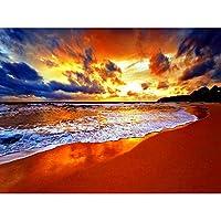 油絵 数字キット ビーチの海 ト塗り絵 手塗り Diy絵 デジタル油絵 ホーム オフィス装飾 40X50Cm