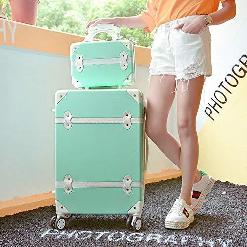 HLXB Vintage Wasserdichtes Rollkoffer,Retro Süßer Leichter Koffer Set für Teenie Mädchen,Frauen,Hartschale Reise Trolley,2 Stück