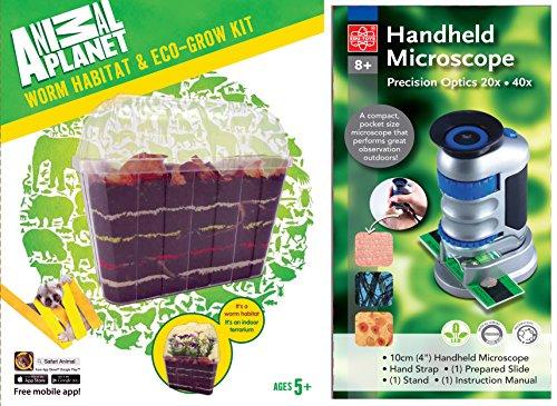 EDU-TOYS Wurmbiotop und Handmikroskop 20-40fach mit LED Beleuchtung und Objektträger