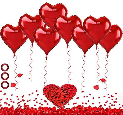 kit romantico,30 pcs Palloncini Forma di Cuore , 1000 pcs Petali di Rosa,Seta Petali, Lattice Palloncini, perMatrimoni, Anniversari, Compleanno, San Valentino Decorazione Romantica