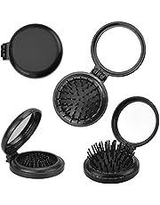 AFASOES 4 st vikbara resehårborstar mini hårkam kompakt hårborste med spegel liten storlek hår massagekam rund hopfällbar fickhårborste för kvinnor och flickor, svart