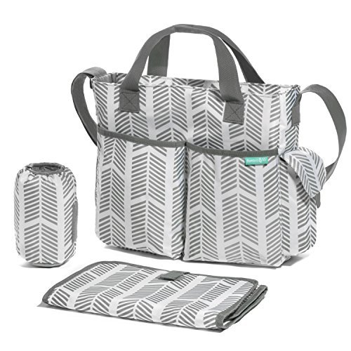 Diaper Bag/Breast Pump Tote Bag- Stylish Arrows, Functional Baby Stroller Organizer - Adjustable Stroller Strap - Eight Total Pockets - Easy to Clean - BONUS: Baby Changing Pad