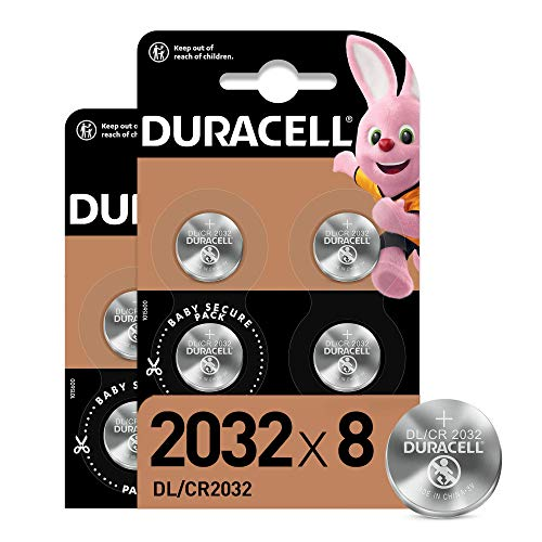 Duracell - Pilas de botón de litio 2032 de 3 V, paquete de 8, con Tecnología Baby Secure, para uso en llaves con sensor magnético, básculas, elementos vestibles, dispositivos médicos (DL2032/CR2032)
