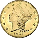 Exquisite Collection of Commemorative Coins United Stated 1891 1891 cc 1891 s 20 Dollars Liberty Head - Double Eagle with Motto Twenty Dollars Brass Metal Copy Coin It's Handmade Crafts Best Product