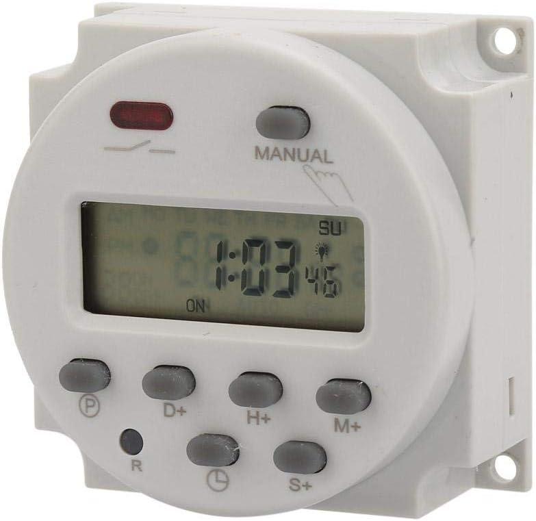para control electr/ónico programable 7 d/ías 220 V CA Interruptor de temporizador digital con visualizaci/ón 1S ~ 168h 5VA peque/ño interruptor de temporizador