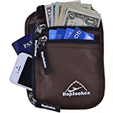 Hopsooken Travel Neck Pouch Passport Holder with Rfid Blocking, Use As Travel Wallet or Hidden Wallet - Protect Your Money, Passport, Credit Cards, Cell Phone and Documents,6 Pockets (New Brown)