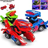 lonko5DING Transforming Toys, Transforming Dinosaur Toys, Transforming Dinosaur Car with LED Light and Music Automatic Transform Dino Car for 2+ Year Old Kids Christmas Birthday Gifts