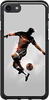 BJJ SHOP Funda Negra para [ iPhone 7 / iPhone 8 ], Carcasa de Silicona Flexible TPU, diseño: Futbolista con Pelota y Destellos de luz
