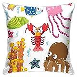 SHUJIA Funda de cojín con diseño de dibujos animados, diseño de animales salvajes en estilo divertido océano, 45,7 x 45,7 cm