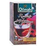 Té Dilmah de rosa mosqueta e hibisco - 20 bolsitas de té - Infusión picante con acabado afrutado - Naturalmente libre de cafeína