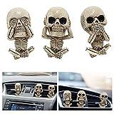 3 Pack Ghost Head Car Vent Clip,Car Interior Car Air Vent Clip Charm,Skull Car Air Outlet Freshener Perfume Clip Car Pendant Ornaments Decor