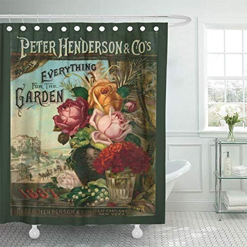 ZLWSSA Cortina De Ducha A Prueba De Agua 3D Jardín Catálogo De Semillas Vintage Flores Broadsides Antiguos Decoración para El Hogar 180x200cm