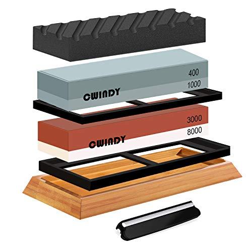 CWINDY 1000/3000, 400/1000 Grit knife Sharpening Stone Whetstones Set Angle...