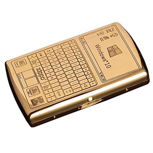 Zigarettenetui Gold Wasserdicht Feuchtigkeits- Und DruckbestäNdig Tragbare Zigarettenetui Geschenk FüR MäNner,Golden,Keyboard