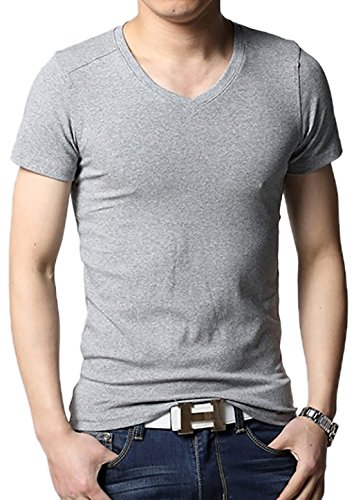 localmode Men's Casual Slim Fit Cotton T Shirts Grey S