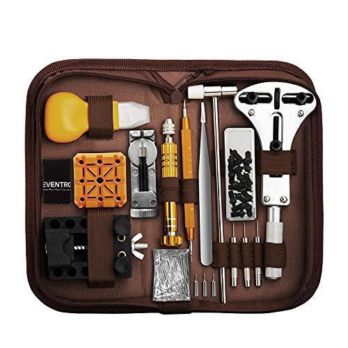 Kit de Reparación de Relojes, Eventronic Juego de Herramientas de Barra de Resorte Profesional, Juego de Herramientas de Pasador de Enlace de Banda de Reloj con Estuche (Marrón)