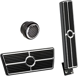 NEW BILLET SPECIALTIES BLACK ANODIZED 55-57 CHEVY PEDAL KIT FOR AUTOMATIC TRANSMISSIONS & NON-POWER BRAKES INCLUDING OEM-STYLE FLOOR MOUNT GAS PEDAL ASSEMBLY, BRAKE PEDAL PAD, AND ROUND DIMMER SWITCH COVER FOR TRI-5 1955 1956 1957 CHEVY BEL AIR 150 210 NOMAD DEL RAY SEDAN DELIVERY