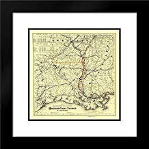 Mississippi Valley Railroad of Louisiana 1882 20x20 Black Modern Frame and Double Matted Art Print by Colton Vintage Map