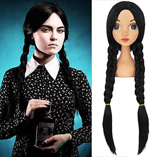 NICAT Wednesday Addams Costume Cosplay Wig Cute Braided Wigs Long Black Middle Part Synthetic Hair Replacement Wig for Women Girls Natural Looking Heat Resistant Wigs for Party Halloween NT007BK