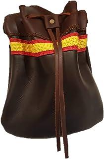 CAZA Y AVENTURA Una Bolsa Ojeo-Bolsa portacartuchos en Cuero con Detalle España, para Llevar en el cinturón.Cierre con cordón. para 40 Cartuchos