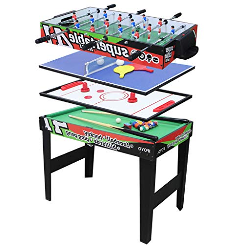 AIPINQI 31.5 Inch 4 in 1 Steady Multi Games Table, Mini Pool Table, Foosball Football Table, Air Hockey Table, Table Tennis Table Ping Pong Table, Kids Adult
