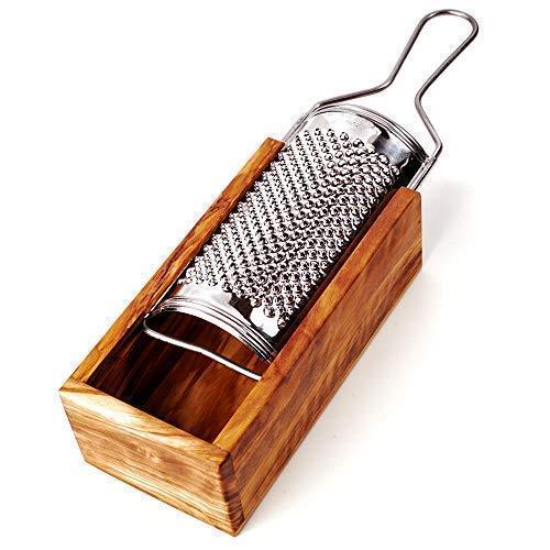 Parmesanreibe mit Auffang-Behälter aus Olivenholz 2-teilig 24,5cm x5,5cm x9cm