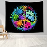 PPOU Tapiz Hippie Tapiz de Paz y Amor Tapiz de Hojas Coloridas Tapiz psicodélico Tapiz Art Deco Decoración de Pared A9 130x150cm