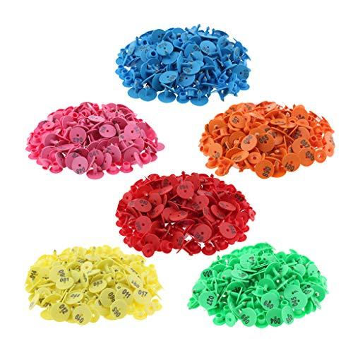 Milageto - Etiquetas para orejas de betail de 6 colores con números para el betail de vaca de cerdo
