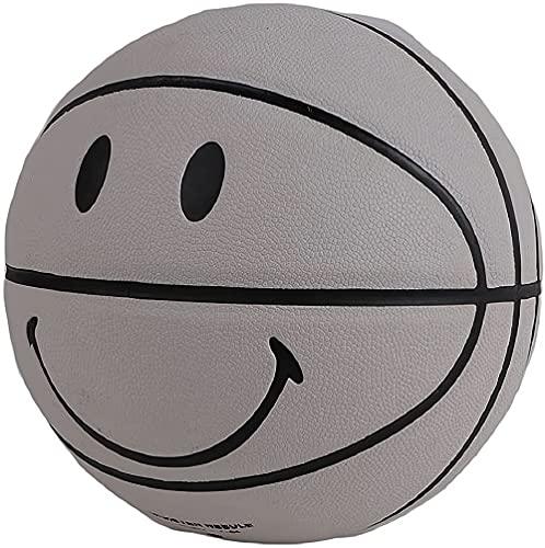 Balón de baloncesto tamaño 7, Smiley Graffiti, para entrenamiento en interiores y exteriores, niños, 6 colores (gris)