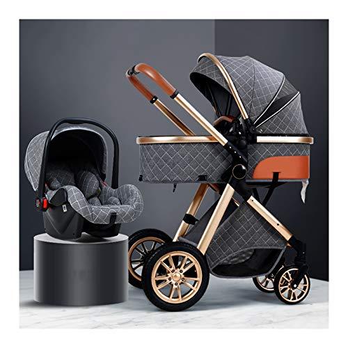 HHGO Cochecito de bebé 3 en 1 para recién nacidos y niños pequeños, ligero plegable de aleación de aluminio con cesta para dormir, absorción de golpes, cochecitos de bebé