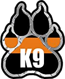SAR Search and Rescue K9 Paw Decal K-9 Dog Unit Thin Orange Line Vinyl Sticker Car Bumper Window V