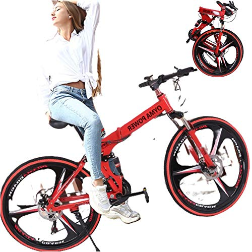26 Mountain Bike Women, Outdoor Sports High Carbon Steel Folding Full Suspension MTB Bicycle, Aluminum Wheel Rim, 21-Speed Rear Derailleur, Suitable for Adults,College Students,Cycling Enthusiasts