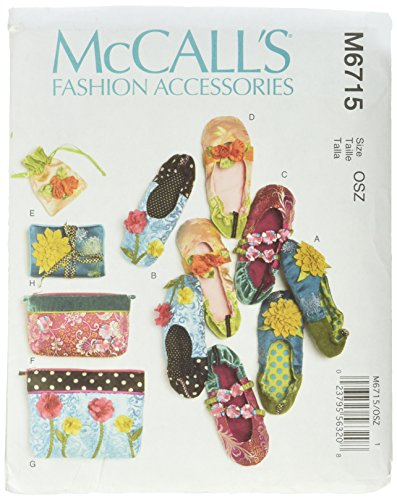 McCall Patterns M6715 Slippers, Jewelry Pouch, Zipper Bags and Jewelry Case Sewing Template