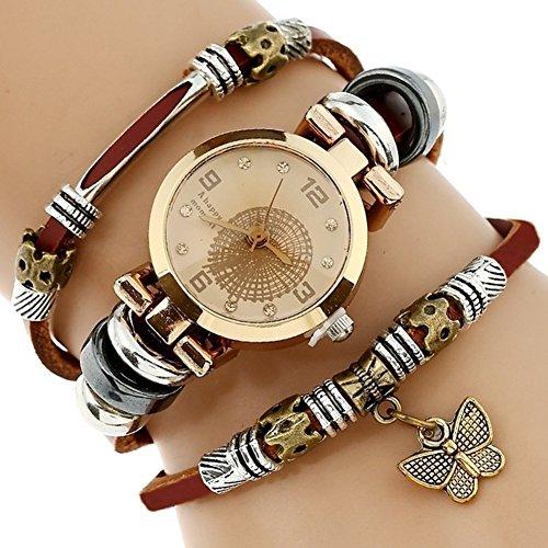 Reloj de Pulsera de Cuarzo para Mujer Reloj de Pulsera de Diamante de imitación de Imitación de Cuero Genuino Vintage Mariposa Casual Bohemia Único (Color : 01)