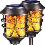 TomCare Solar Lights Metal Solar Torch Lights Flickering Flame Outdoor Lighting Decorative Landscape
