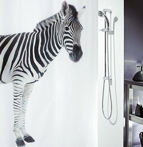 """Spirella Anti-Schimmel Duschvorhang - Anti-Bakteriell, waschbar, wasserdicht, Polyester, """"Zebra"""" 180x200cm Weiß"""
