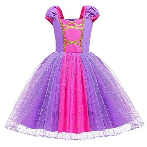 Le SSara Niñas Princesa Nieve Traje Blanco Disfraces Hadas disfrazarse Vestido de Cosplay con Cabo (90, D79-Purple)