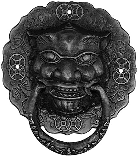 JJDSN Lion Head Door Knocker,Ring Pulls Handles,Classic Antique Design,For Front Doors Main Porches Accessories