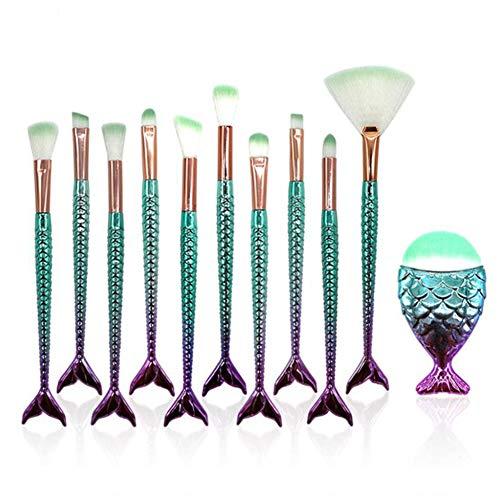 JUNGEN 11 Pièces Pinceaux Maquillage Sirène Brosses de maquillage Poils de nylon Brosses à cosmétiques Ombre à paupières Eyeliner Blush Brushes