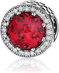 NINGAN Abalorio de plata de ley 925 con diseño de corazones radiantes. Abalorio charm compatible con pulsera (Cerise)