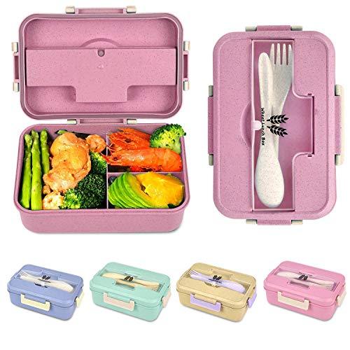 Fiambrera Compartimentos,Caja de Bento,Fiambrera Infantil, Caja de Bento con 3 Compartimentos y Cubiertos, Cuchara Tenedor Lonchera Alimentos Ideal para Almuerzo y Bocadillos para Niños y Adultos