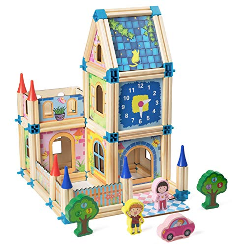 Czemo 3D Wooden Puzzle for Kids 3d Building House Puzzle Jigsaw Construction Toys Belfry House Dollhouse Construction Kit for Children Educational Craft Toys