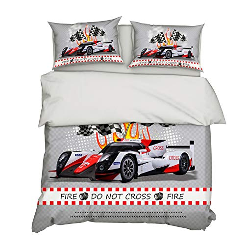 AYMAYO F1 Racing Car Duvet Cover Set 135 x 200 cm for Boys, Girls and Teenagers Microfibre Soft Material Bright Colours Zip Oeko-Tex, Microfibre, Style-c, 135×200cm