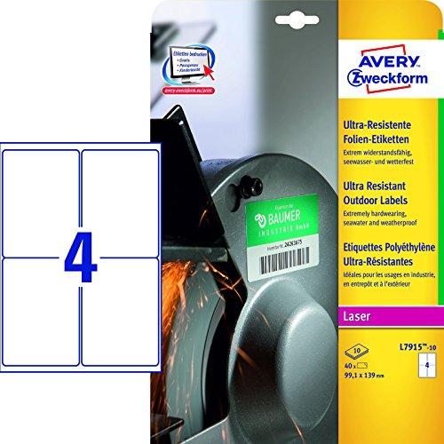 Avery España L7915-10 - Pack de 10 hojas de etiquetas de seguridad, 99.1 x 139 mm, color blanco