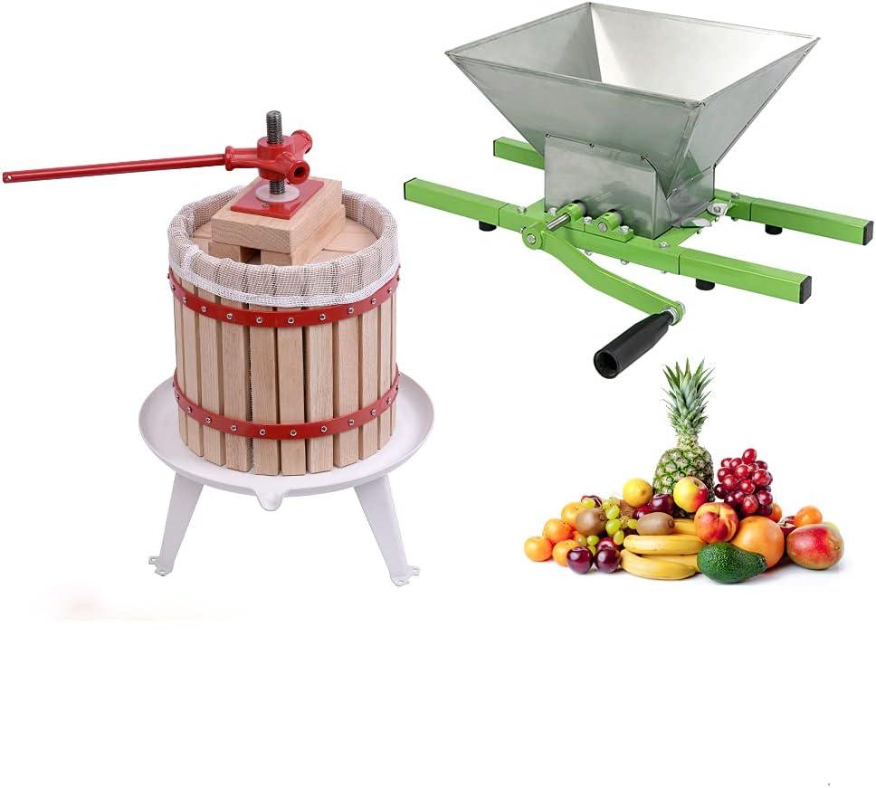 AufuN Prensa de fruta, prensa de vino, exprimidor de fruta, prensa de maíz + molinillo de fruta, trituradora manual de maíz con manivela, prensa de fruta para manzana (12 L + 7 L de fruta)
