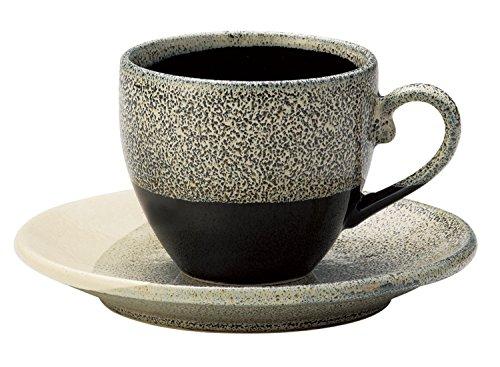 Aitoh Japonés Mino-yaki Taza de café de cerámica con platillo – Gris Glaze 266423