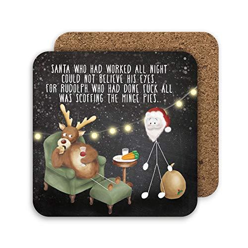 Posavasos de Navidad divertido, regalo de amigo invisible, relleno de calcetín Rudolph Mince Pies, decoración de mesa de Navidad