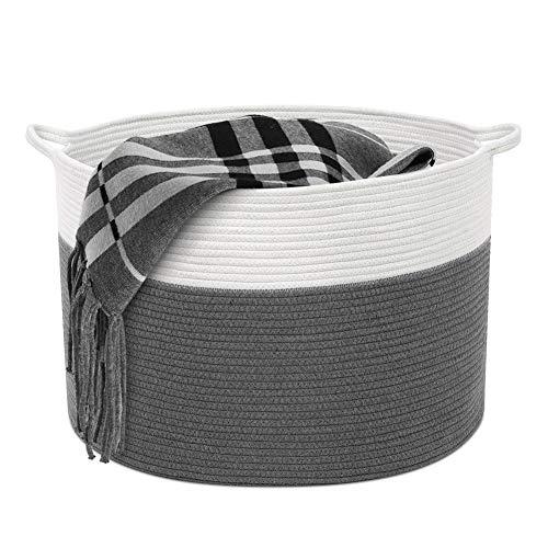 Cestas de almacenamiento tejidas, cesta decorativa de ropa redondo enrollado para mantas cojines de sofá almohadas toallas de algodón