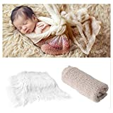 Vedory 2Pcs Baby Photo Props Blanket Stretch Knitted Wrap Swaddle for Boy Girls Photography Shoot Photographic Mat (White Blanket + wrap)