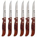 Renberg Set de Cuchillos con Mango, Acero Inoxidable, Gris y Marrón, 3x23x16 cm